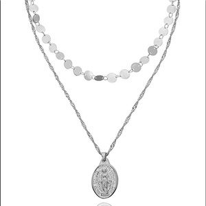 Stainless steal pendant layering necklace